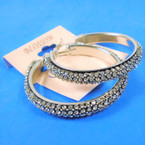 "2"" Silver  Hi Fashion Hoop Earring  Loaded w/ Crystal Stones .56 per pair"