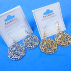 Round Silver & Gold Wire Earring   w/ Crystal Stone .54 per pair