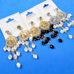 "2.75"" Silver & Gold Dangle Pearl  Earring   w/ Crystal Stone Top  .54 per pair"