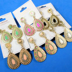 "1.75"" Oval Epoxy Fashion Earring w/ Cry. Stones  .56 per pair"