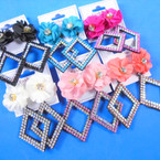 """2.5"""" Triangle  DBL LIne Stone Earring w/ Flower Top .56 per pair"""