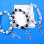 Glass Bead San Benito Charm Bracelet w/ Silver Cross w/ Jesus  .56 each