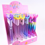 "8""  8"" Unicorn Theme Flashing Lite Water/Glitter Pen 36 per display bx .62 each"
