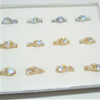 Gold & Silver Fashion Rings w/ Brilliant CZ Stone  12 per display bx .56 each