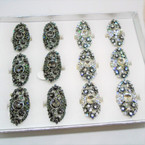 Amazing Value Vintage Look Cry. Stone Fashion Rings  12 per display bx .56 each