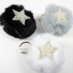 "3"" Faux Fur Pom Pom Ball Keychain w/ Crystal Stone & Pearl Star   .56 each"