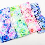 """3"""" Lite Flower Print Stretch Headbands Asst Colors (1096) 12 per pk    .58 each"""