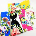 """3"""" Bright Flower Print Stretch Headbands Asst Colors (1094) 12 per pk    .58 each"""