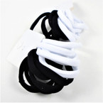 10 Pack Soft & Stretchy Elastic Ponytailers Blk/White  .54 per set