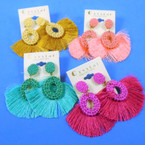 """2.5"""" Wooven Top Style Fashion Earrings w/ Fringes  .54 per pair"""