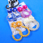 """2 Pair Earrings Flower w. Pearl & 2"""" Sparkle Flake Hoop Earring  .56 per set"""