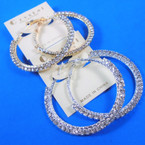 "2"" Round Gold & Silver Rhinestone Hoop Fashion Earring  .54 per pair"
