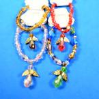 Beautiful Crystal Stone Angle Charm Bracelets  Asst Colors .58 each