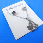 Stainless Necklace & Earring Set Heart/Butterfly Theme .60 per set