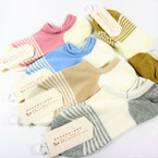 Girl's Comfy Soft & Stretchy Low Cut Socks Striped Asst Colors   .56  per pair