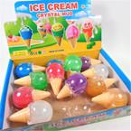 "3"" Ice Cream Cone Theme Crystal Mud Slime 12 per display bx .60 each"