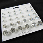 SPECIAL Brillant 15 Pair Silver w/ Clear Crystal Stud Earrings .54 per set