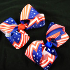 "5"" USA Stars & Stripes Gator Clip Bows  (2902) .54 each"