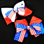 "5"" USA Stars & Stripes w/ Cry. Stone Center Gator Clip Bows  (2893) .54 each"