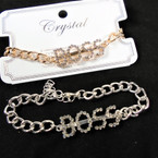 Gold & Silver Chain Link Bracelet w/ Cry. Stone BOSS 12 per pk  .54 each