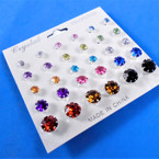15 Pair Asst Color Crystal Ball Earrings Silver Frame .54 per set