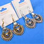 "2"" Hi End Look Gold & Silver Cry. Stone Earrings .56 per pair"