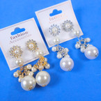 "2.5"" Hi End Look Gold & Silver Cry. Stone Earrings w/ Loads of Pearls  .56 per pair"