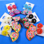 "3"" Flower Theme Colorful Tribal Cloth Earrings  .56 per pair"