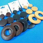 "4.25"" 3 Part Wood Disc Earrings 3 colors per dz .54 per pair"