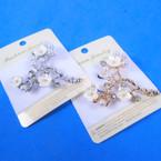 Unique Gold & Silver Fashion Broach w/ Crystals & Flowers  .58 each