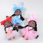 "5"" African American Doll Keychains w/ Fancy Outfit 12 per pk  .56 each"