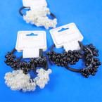 2 Pack Elastic Ponytailers  w/ Dangle Pearls (black/white)  .52 per set