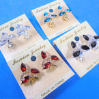 Petite Gold/Silver CLIP ON Earrings w/ Crystal Stones .56 each pair