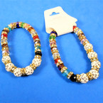 Crystal Bead & Fireball Cry. Bead Stretch Bracelets .58 each