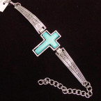 Cast Silver Fashion Bracelet w/ Turquoise Stone Cross .60 each