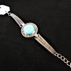 Cast Silver Fashion Bracelet w/ Round Turquoise Stone .60 ea