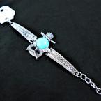 Cast Silver Fashion Bracelet w/ Owl w/ Rd. Turquoise Stone .60 ea