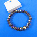 8MM Shiney Metallic Crystal Beaded Stretch Bracelets .60 each