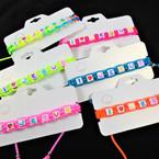 Neon & Multi Color Macrame I Love Jesus  Saying Block Bracelets .58 each