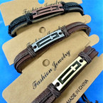 Teen Leather Bracelets w/ Long Cross Plaque 3 colors .58 each