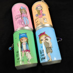 """3.25"""" Tall Soda Can Cool Look Girl Theme Keychain  w/ Wet Wipes   .65 each"""