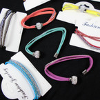 Mixed Color 3 Strand Stone & Stud Bracelet Magnetic Fireball Style .60 each