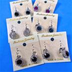 Rhinestone French Pcd Clip Earrings w/ Gemstone  .54 ea pair