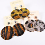 "1.5"" Round Acrylic Stone Animal Print Earrings .54 per pair"