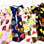 "9"" Long DBL Tail Ponytail Holders Summer Tropical Fruit Theme .54 each"
