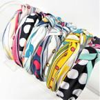 "Trendy 1.5"" Fabric Fashion Headbands Print Mix Poka Dots w/ Knot   (2852) .56 ea"