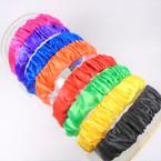 "Trendy 1.5"" Ruffled Satin Headbands Mixed Bright Colors (2873) .56 ea"