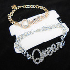 Gold & Silver Chain Link Bracelet w/ Cry. Stone QUEEN 12 per pk  .54 each