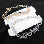 Gold & Silver Chain Link Bracelet w/ Cry. Stone GLAM 12 per pk  .54 each