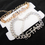 Gold & Silver Chain Link Bracelet w/ Cry. Stone STAR 12 per pk  .54 each